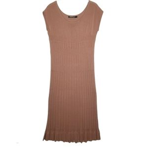Peruvian Connection Ribbed Pointelle Midi Dress S